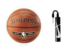 Spalding NBA Silver Batoh Indoor/Outdoor + Nike Essential Dual Action Ball Pump