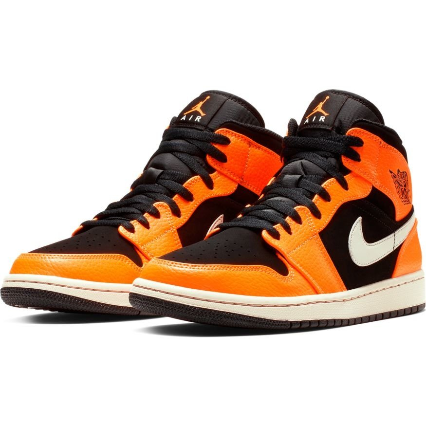 ... Air Jordan 1 Mid Black Orange Boty  aaecdbcbf7